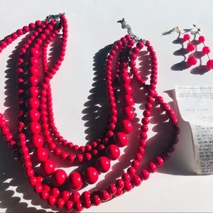 Hot pink costume jewelry necklace and earring set